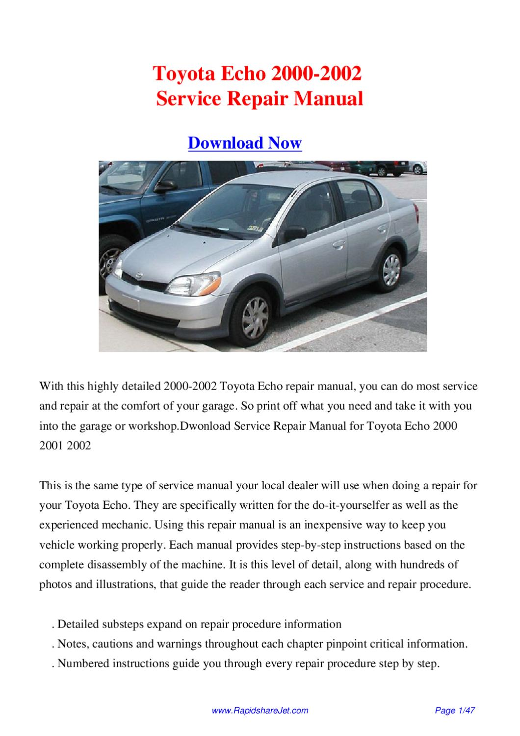2000 toyota echo service manual